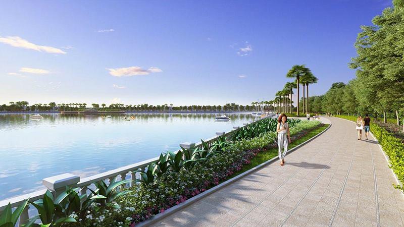 Đường dạo ven hồ rộng 12,4ha với không gian xanh ngập tràn tại The Harmony