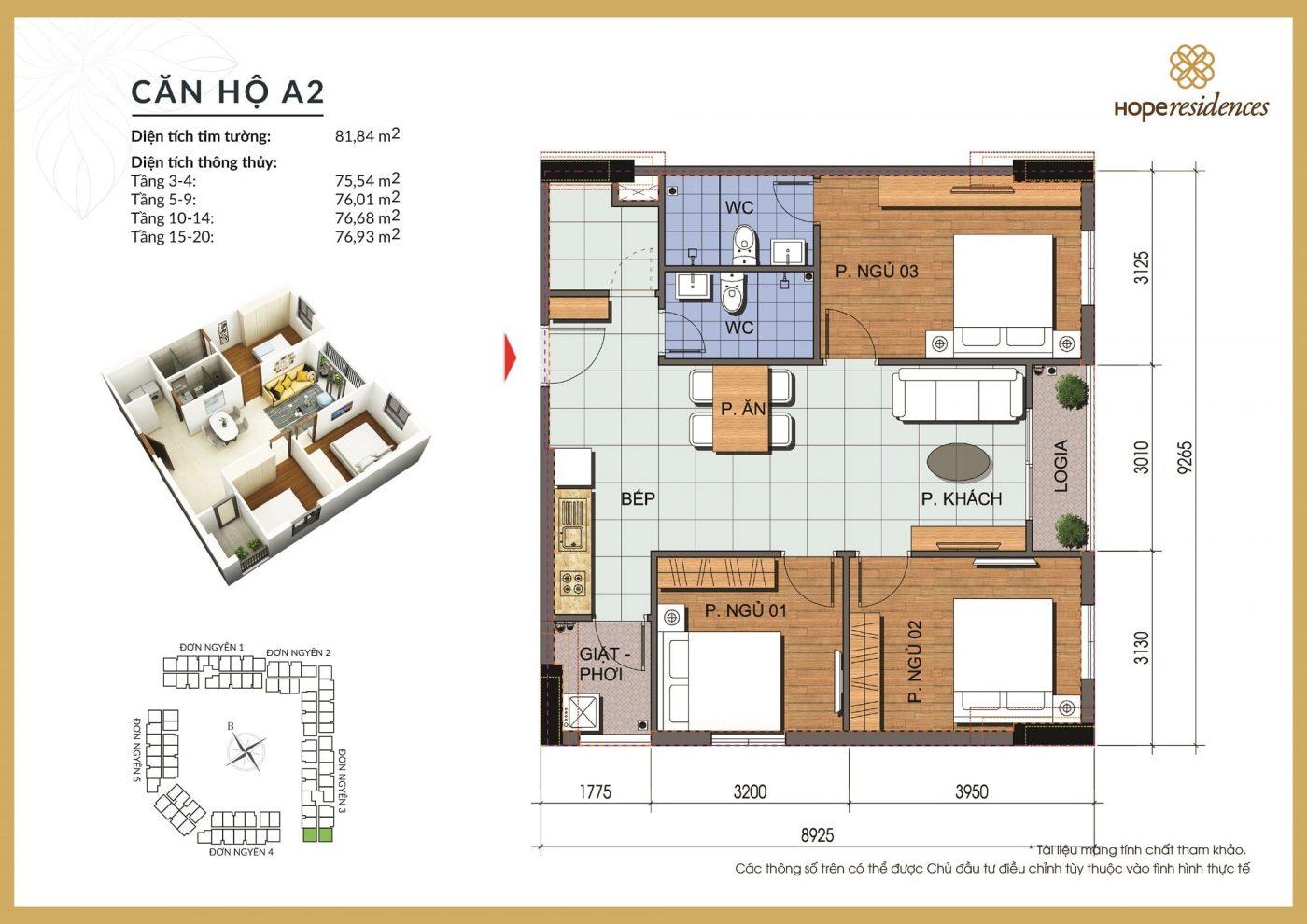 mat bang thiet ke can ho a2 hope residences