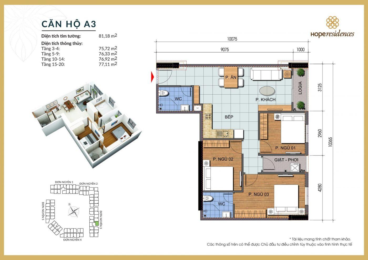 mat bang thiet ke can ho a3 hope residences