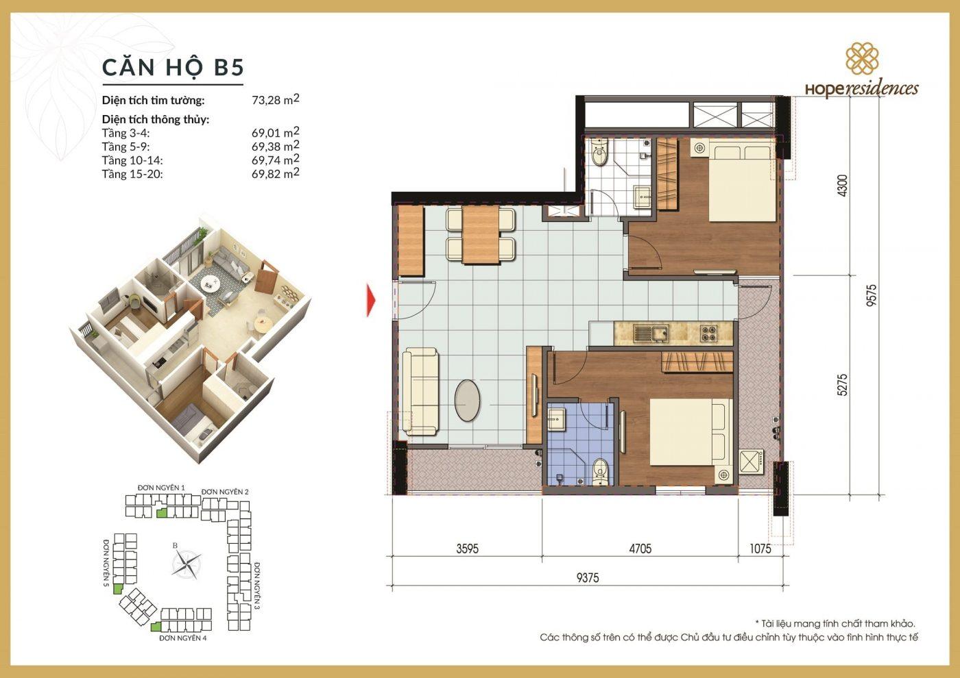 mat bang thiet ke can ho b5 hope residences