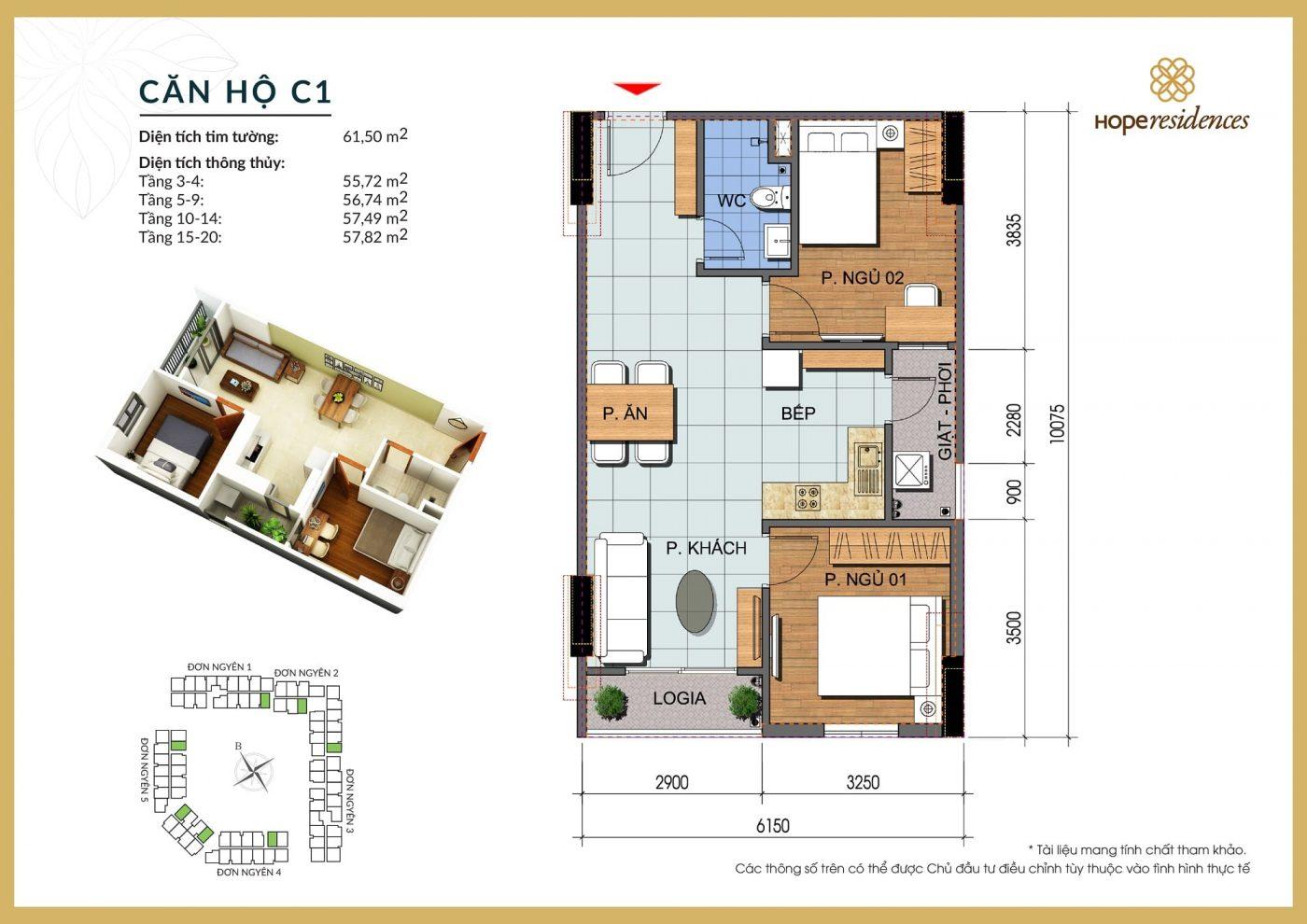 mat bang thiet ke can ho c1 hope residences