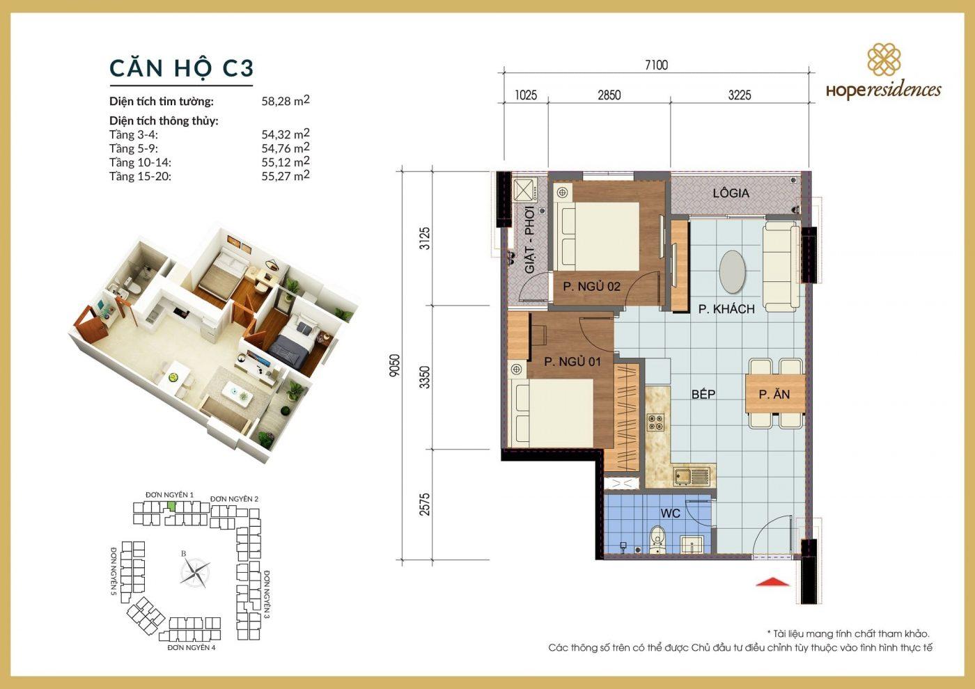 mat bang thiet ke can ho c3 hope residences